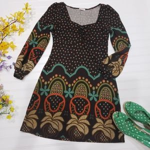 Funky People Fitted Dress S  Brown VTG style 60